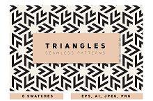 Bold Triangles Seamless Patterns Set