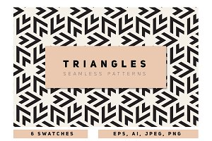 Bold Triangles Seamless Patterns Set