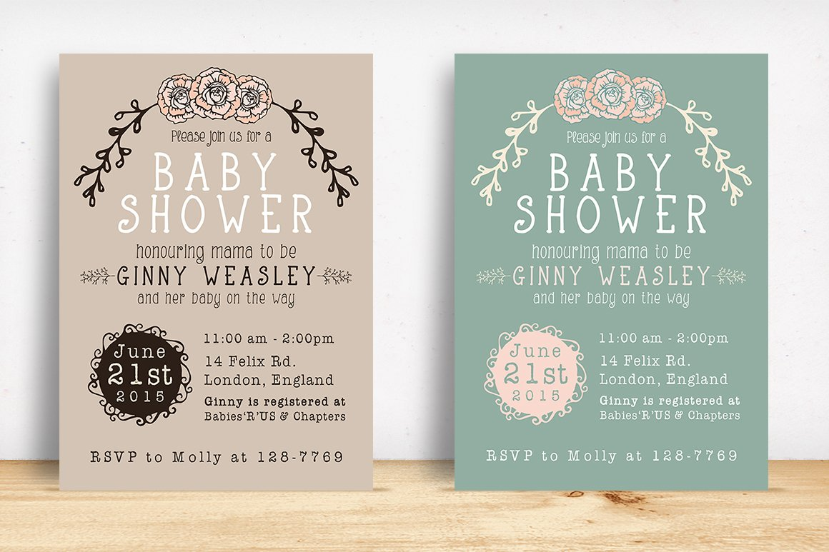 Baby shower invitation invitation templates creative market stopboris Gallery