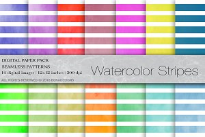 Watercolor Digital Paper Stripes