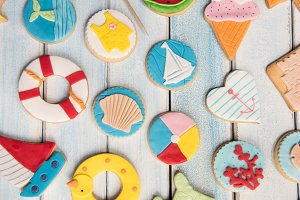 Butter cookies and summer decoration