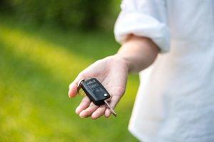 car key in woman hand