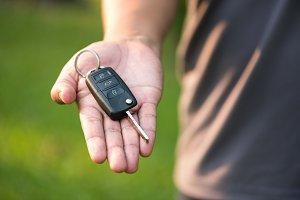 car key in man hand