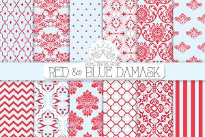 RED AND BLUE DAMASK digital paper