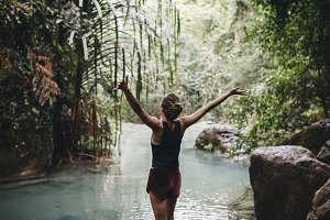 White woman enjoying the nature