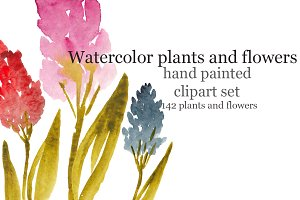 Watercolor flowers, raster