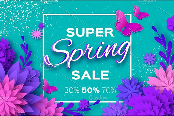 Origami Violet Super Spring Sale Flowers Butterfly Paper Cut Floral Card Spring Blossom Happy Womens Day 8 March Text Seasonal Holiday On Blue Spring Sale Poster Flyer Voucher Discount