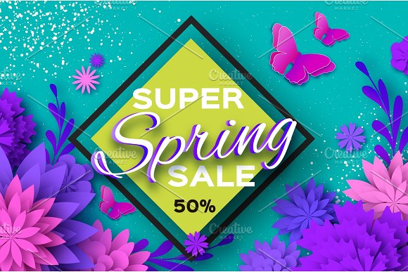 Origami Violet Super Spring Sale Flowers Butterfly Paper Cut Floral Card.Happy Womens Day 8 March Text Seasonal Holiday On Blue Rhombus Frame Spring Sale Poster Flyer Voucher Discount