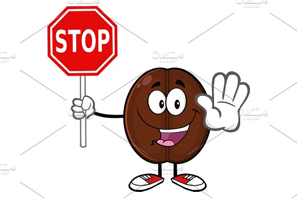 Cute Coffee Bean Holding A Stop Sign