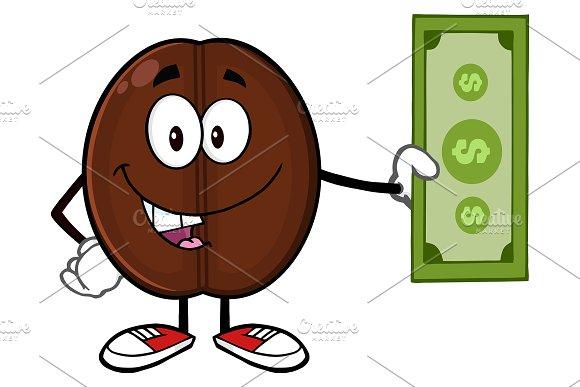Coffee Bean Holding A Dollar Bill