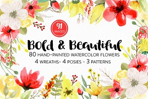 Watercolor Flower Set - Red & Yellow