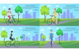 Active Lifestyle Web Pages Set Vector Illustration
