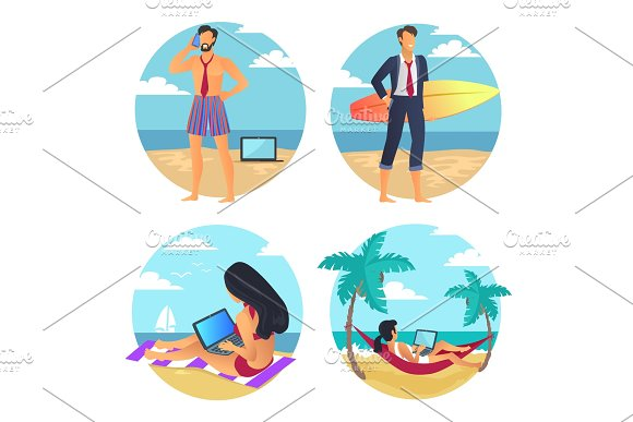 Business Summer People Beach Vector Illustration