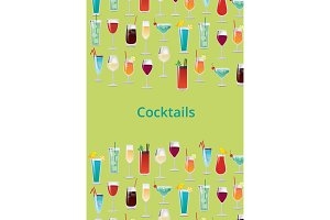 Cocktail Set Color Poster Vector Illustration