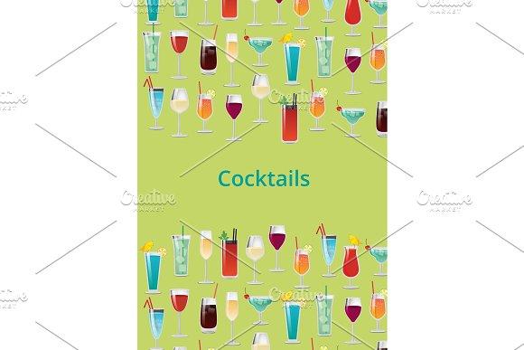 Cocktail Set Color Poster Vector Illustration