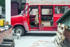 A red old van