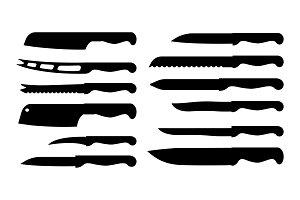 Set of Different Knife Samples Vector Illustration