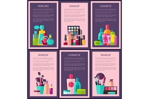 Perfume Makeup Cosmetic Cards Vector Illustration
