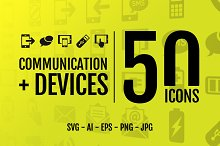 Comunication + Devices: 50 Icons