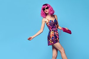 Fashion model girl, Pink Hair