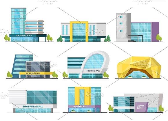 Shopping Mall Buildings Set