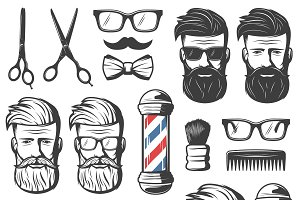 Vintage Barber Elements Set