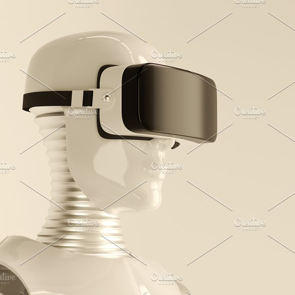 Robot In Virtual Reality Glasses