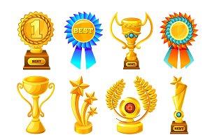Cartoon Gold Reward Icon Set