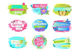 Spring Sale Sickers Vector Illustration Promo Tags
