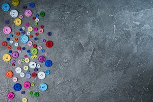 Colorful plastic clothing buttons