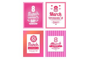 Collection of Posters with Womens Day 8 March Set