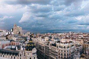 Skyline of Madrid from Circulo de Bellas Artes rooftop