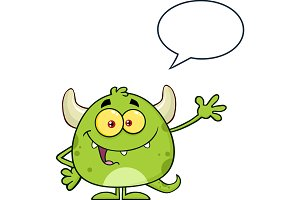 Green Monster With Speech Bubble