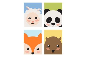 Sheep and Panda Fox and Bear Vector Illustration