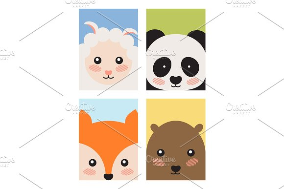 Sheep And Panda Fox And Bear Vector Illustration