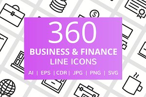 360 Business & Finance Line Icons