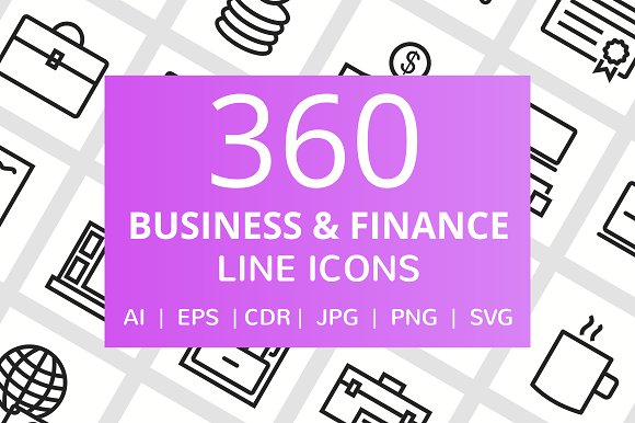 360 Business Finance Line Icons