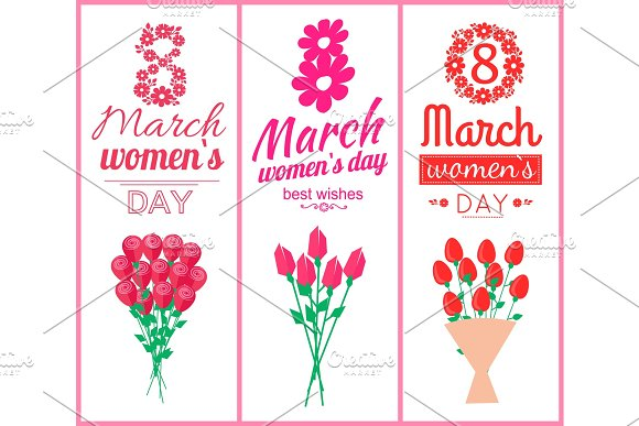 8 March Womens Day Set Poster Vector Illustration