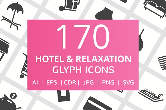 170 Hotel Relaxation Glyph Icons