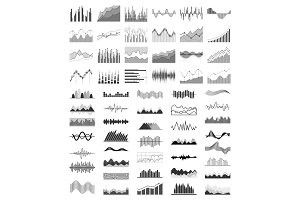 Diagrams Collection Silhouette Vector Illustration