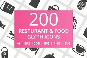 200 Restaurant & Food Glyph Icons