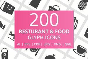 200 Restaurant & Food Glyph Icons