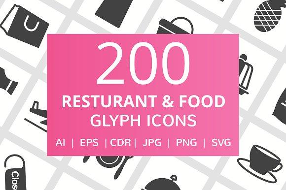 200 Restaurant Food Glyph Icons