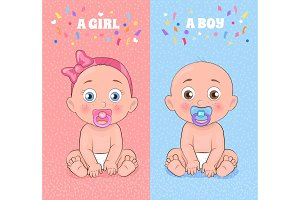 Baby Boy and Baby Girl Set Vector Illustration
