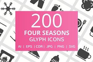 200 Four Seasons Glyph Icons