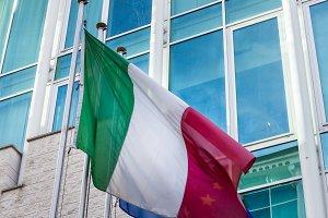 Italian flag hoisted