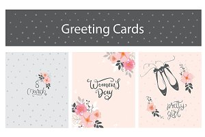 Woman's Day-3 Greeting Cards