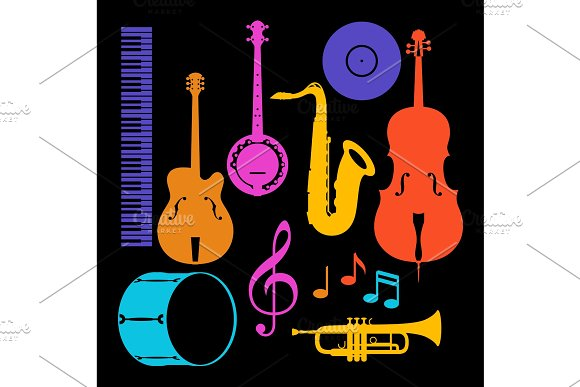 Set Of Musical Instruments Jazz Blues And Classical Music