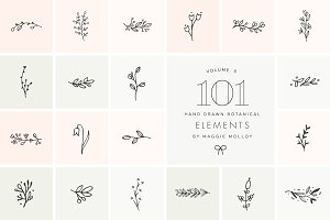 101 Hand Drawn Botanical Elements