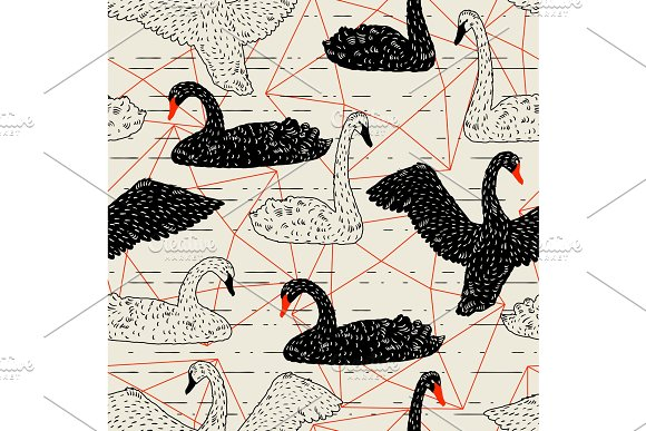 Seamless Pattern With Floating Black And White Swans Hand Drawn Birds